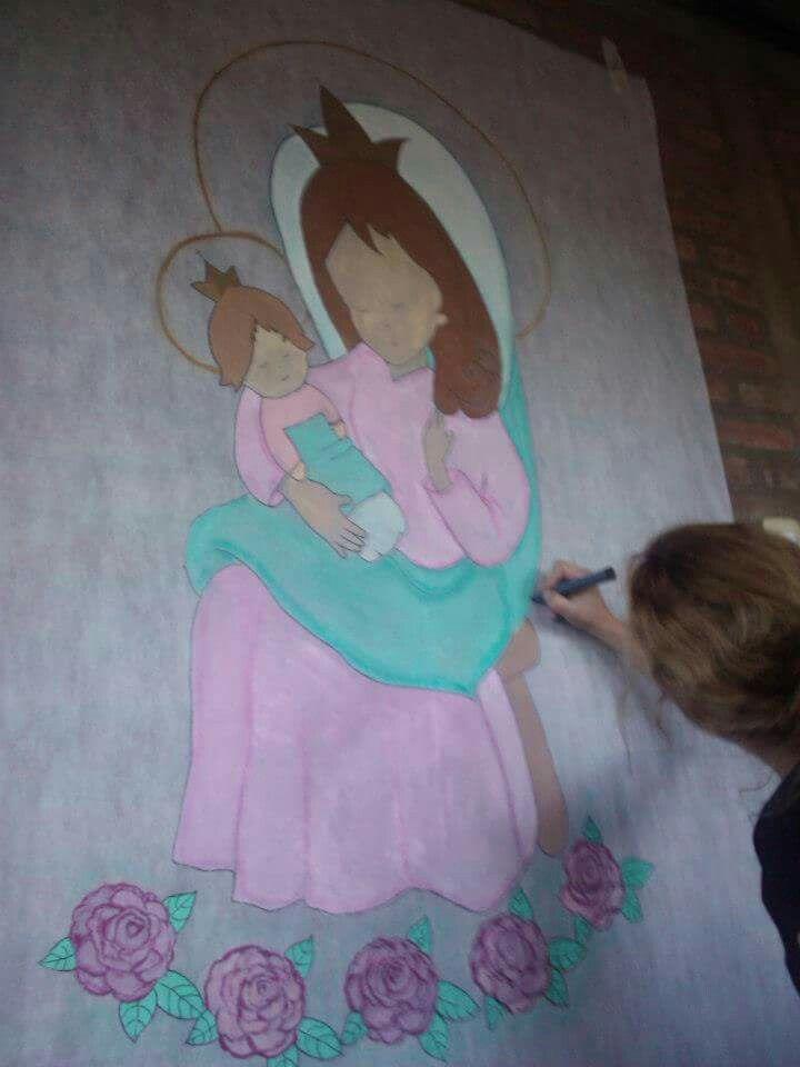Virgencita pintada en ficelina