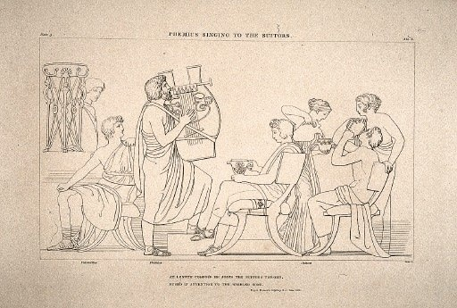'A herald put the beautifully wrought lyre in the hands  of Phemios, who sang for the suitors, because they made him.  He played his lyre and struck up a fine song. Meanwhile  Telemachos talked to Athene of the grey eyes.'    Phemios entertains the suitors  Engraving and etching on paper  John Flaxman  1805  Tate Gallery