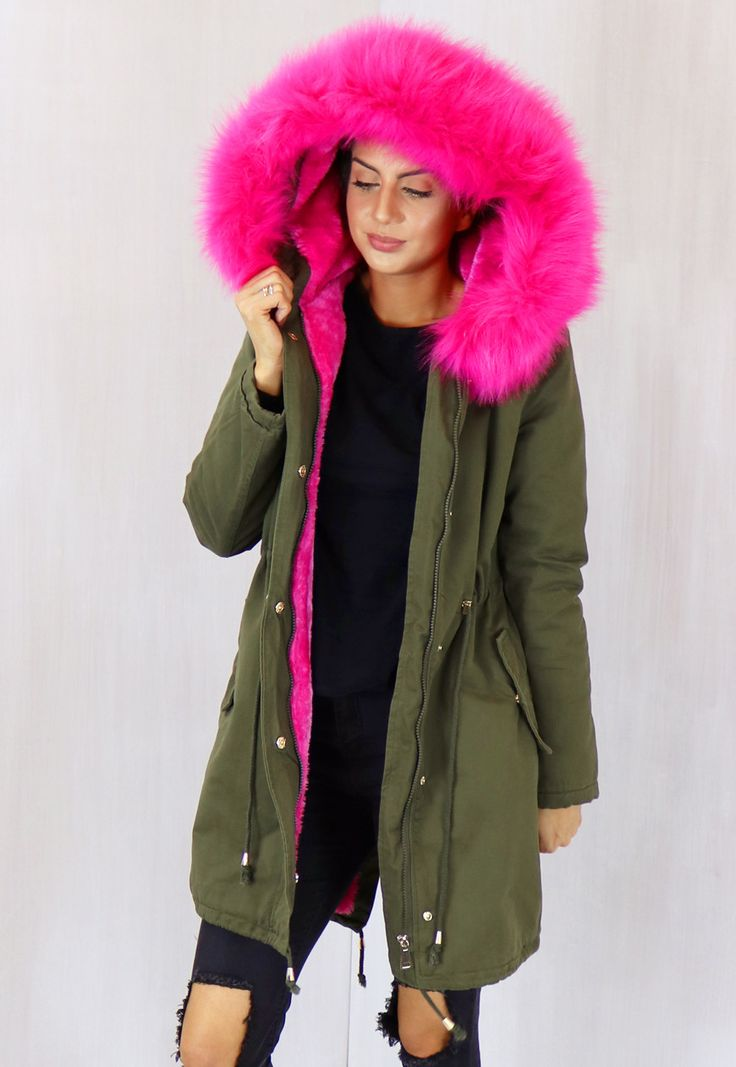 Abbie Oversized Faux Fur Trim & Lined Parka in Khaki Green with Hot Pink - One Nation Clothing - One Nation Clothing - 1