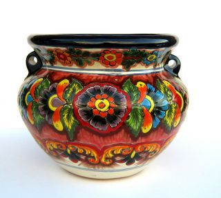 Mexican Talavera Pottery Bean Pot Planter Flower Pot