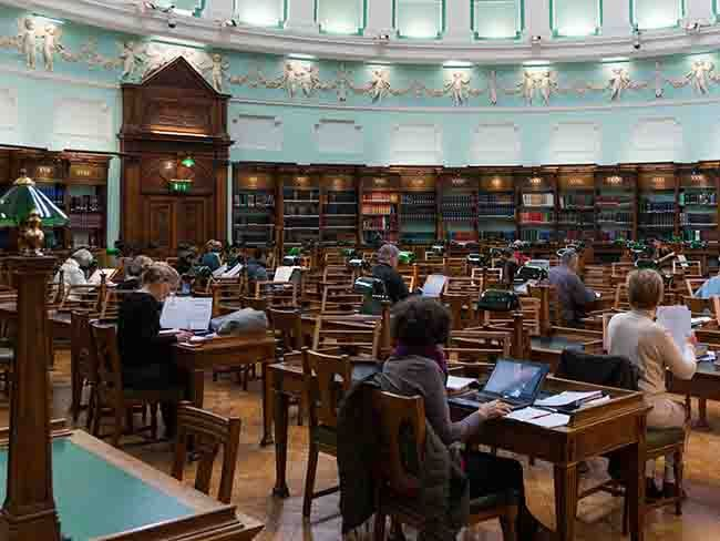 Reading room at the National Library of Ireland: Parish records considered the most important source of information on Irish family history before the 1901 Census.