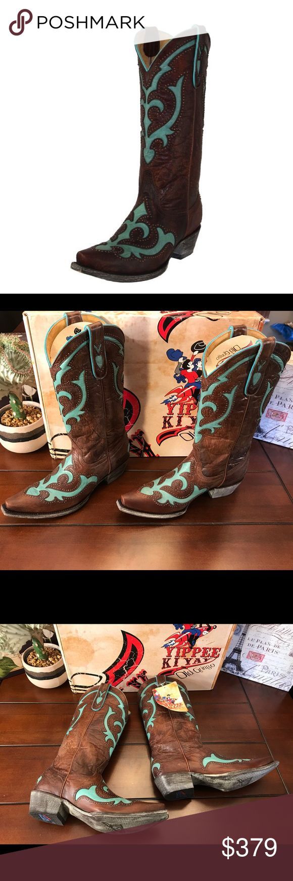Old Gringo Yippee Ki Yay Kailani Boots, 8.5 Old Gringo Yippee Ki Yay Kailani Stud Cowboy Boots, Size 8.5   I do not trade.   These are stunning and brand new with tag and box! ☺️The colors are dark brown and turquoise. I wear an 8.5 and the fit is true, with room for thick socks. Great gift idea! 🎁  Shaft Height- 12 inches Heel- 1.5 inches Circumference-Approximately 12 inches at the widest point Old Gringo Shoes Heeled Boots