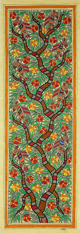 Madhubani Tree of Life Painting Signed Art Fair Trade - Tree of Life II | NOVICA