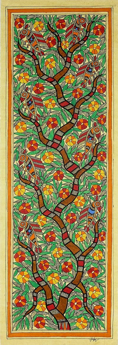 Madhubani Tree of Life Painting Signed Art Fair Trade - Tree of Life II | NOVICA