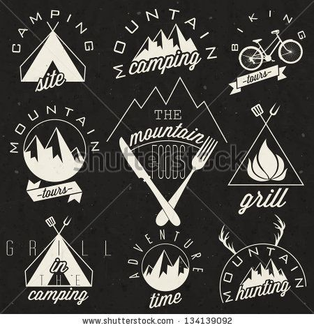 Retro vintage style symbols for Mountain Expedition: Adventure, Mountain Camping, Mountain Hunting, Mountain Tour, Mountain Foods, Camping site, Camping Grill, Biking Tours. Mountain feeling. Vector.