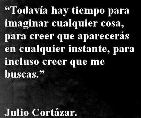 """"""" There is still time to imagine anything, to believe that you will pass by in any moment or even to believe that you will be looking for me"""" Julio Cortazar"""