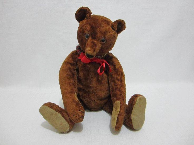 "STEIFF Antique Teddy Bear 13.5"" Brown Plush FF Button Linen Paw Pads       #Steiff"