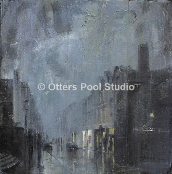 """Rainy Evening Guildford High Street"" by Hester Berry, exclusive to Otters Pool Studio. Limited edition of just 20 fine art giclee prints from an original watercolour. Image size 36x36cm approx."