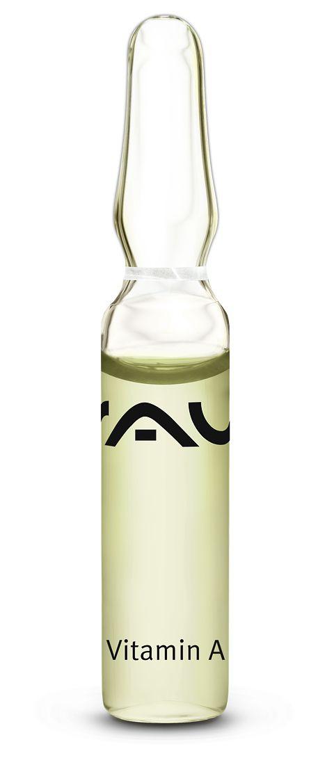 """Unsere """"RAU Vitamin A Ampullen"""" sind speziell für die reife, regenerationsbedürftige, stark beanspruchte Haut. Ein Wirkstoffkomplex aus Milk-Proteinen, Ceramide, Panthenol, Hyaluronsäure, Vitamin A sowie Hydrolite® dient zur Anregung der Zellneubildung und verbessert den Aufbau der Lipidlamellen. Somit entfaltet es eine positive Wirkung gegen vorzeitige Hautalterung. Der pH-Wert liegt zwischen 6,0-6,9."""