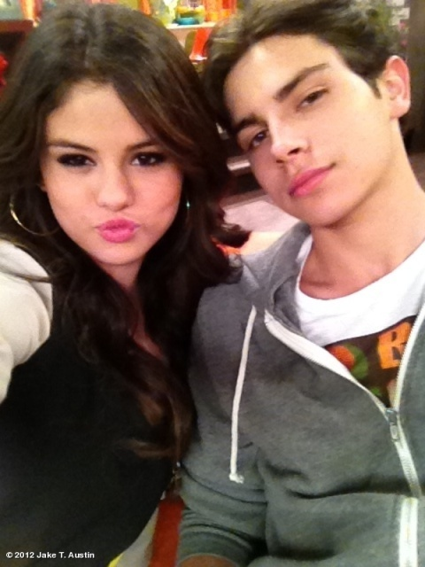 Selena Gomez with Jake T. Austin at the set of Wizards of Waverly Place.