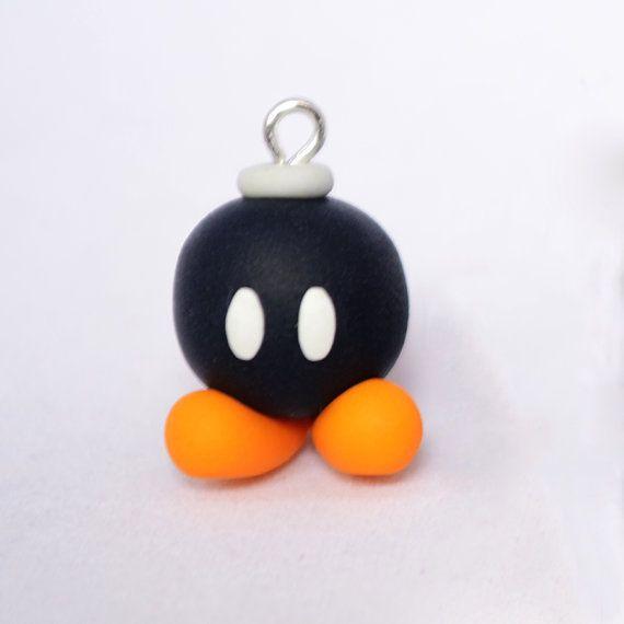Polymer Clay Bob-omb charm - Cute Kawaii Bomb Inspired by Super Mario