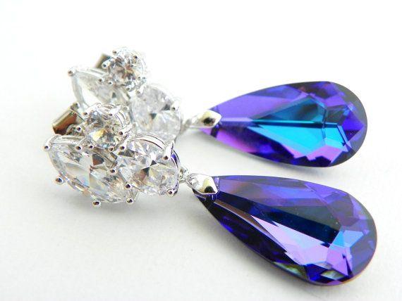 Purple Bridal Earrings, Purple Wedding Earrings, Plum Wedding Earrings, Plum Wedding Jewelry, Purple Peacock Wedding Earring, Purple Earring