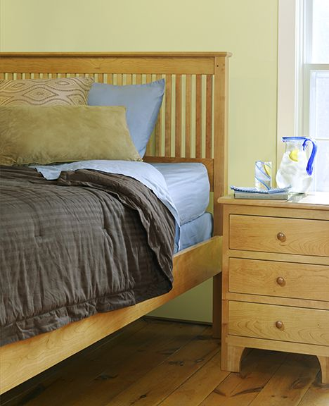 Shaker Style Bedroom Furniture Handsome Mission Spindle Bed In Cherry Wood And Chest Of Drawers
