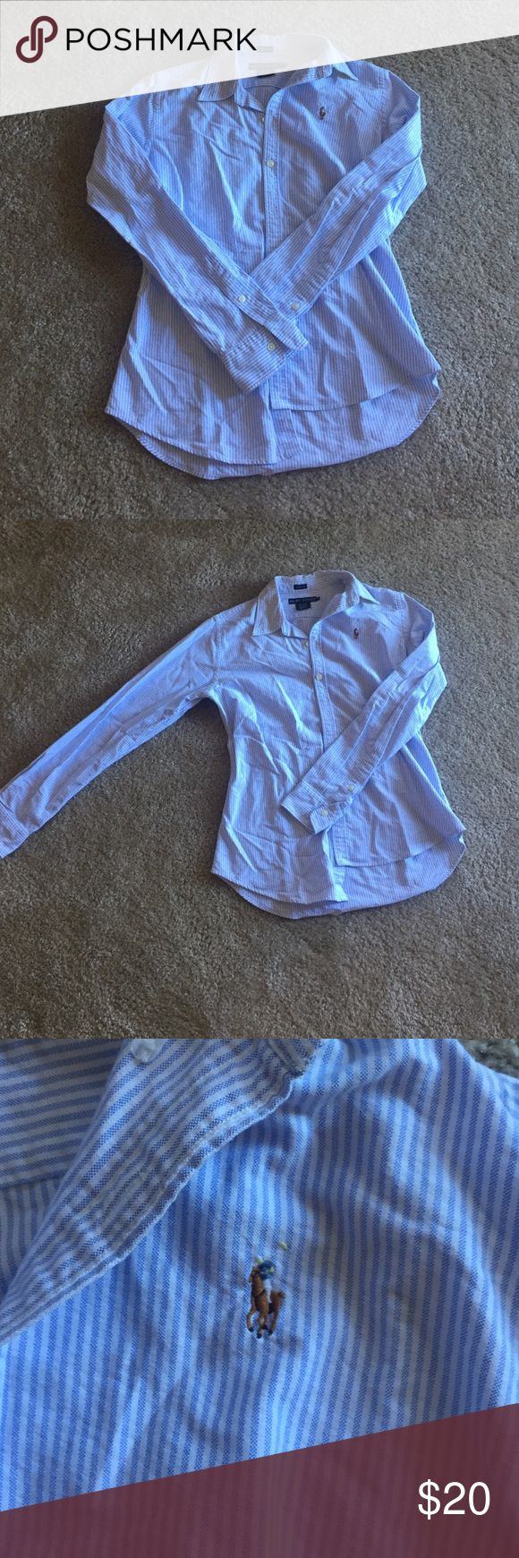 Ralph Lauren Long Sleeved Oxford. Slim Fit size 8 Women's Ralph Lauren long sleeved Oxford shirt. White and pale blue pin stripe with yellow under collar. Worn only a few times. Great condition. Ralph Lauren Tops Button Down Shirts