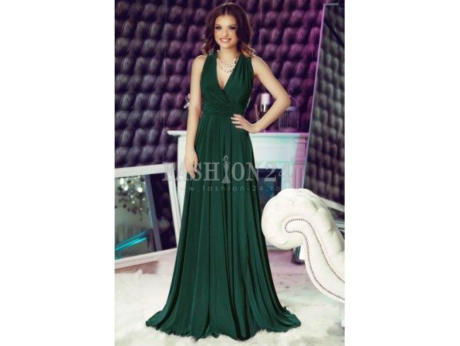 Rochie verde lunga versatila Fatima
