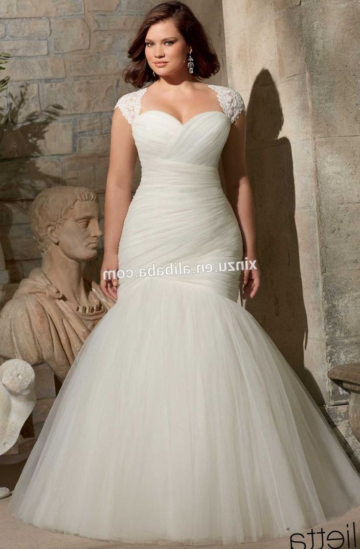 Plus size wedding dresses for fat women cap sleeve for Wedding dresses for thick girls