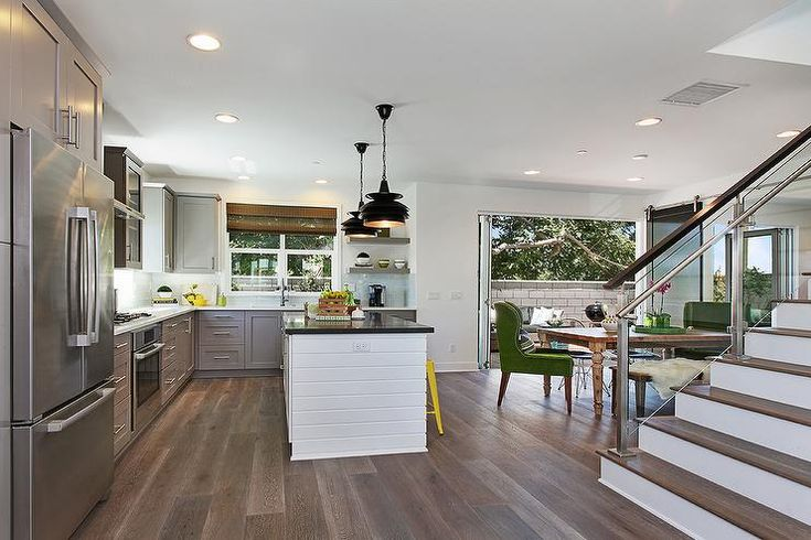 Contemporary L Shaped Kitchen Features Gray Shaker
