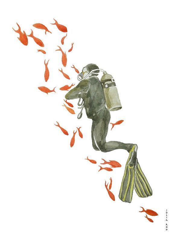 scuba diving in red sea watercolor drawing by artandspirits 30 00