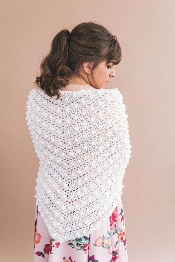 Crochet Pattern - Easy Le Nuage Shawl - Triangle Scarf - PATTERN pdf ...