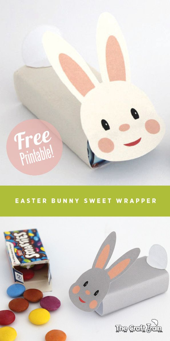 Easter bunny free printable sweet wrapper - perfect for small kids gifts this Easter | The Craft Train Easter clipart ideas