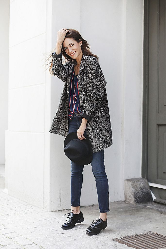oxfords, skinny jeans, wrap top, tweed man coat, fedora