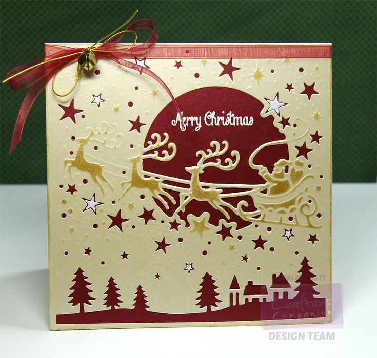 """Designed by Lori Barnett. Crafter's Companion; Die'sire Create-A-Card Christmas Die - Over the Rooftops. Crafter's Companion Vintage Christmas Collection - Seasons Greetings stamp set.  Crafter's Companion Shimmering Cardstocks 6"""" x 6"""" Candy Red, Gold Dust and Pearl White."""