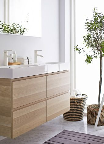 A peaceful and serene bathroom would not be complete without the modern and clean look of the IKEA GODMORGON sink cabinet.