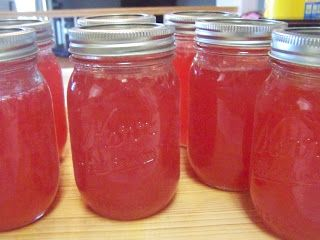 Homemade pear jam- canning. my grandma's recipe, the secret is to add strawberry jell-o!