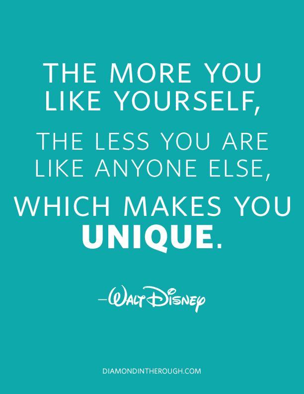 : Disney Quotes, Walt Disney, Waltdisney, Be Unique, Unique Quotes, Senior Quotes, A Quotes, Wise Words, Disneyquot