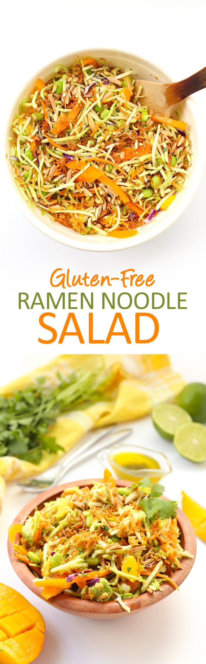 The perfect veggie-filled recipe full of flavour and crunch will make this Gluten-Free Ramen Noodle Salad your new favorite. Using gluten-free ramen noodles and a cilantro-lime dressing, this salad will become a meal staple.