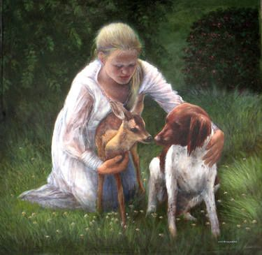 Young Girl with Fawn and Dog To purchase a reproduction, go to: http://fineartamerica.com/featured/girl-with-fawn-and-dog-sylvia-castellanos.html