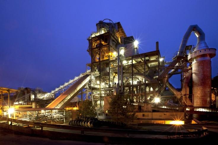 Cement plant Mokrá at night