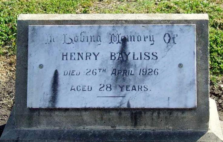 Henry Bayliss died 28 April 1926, 28 yrs. Quirindi, NSW.