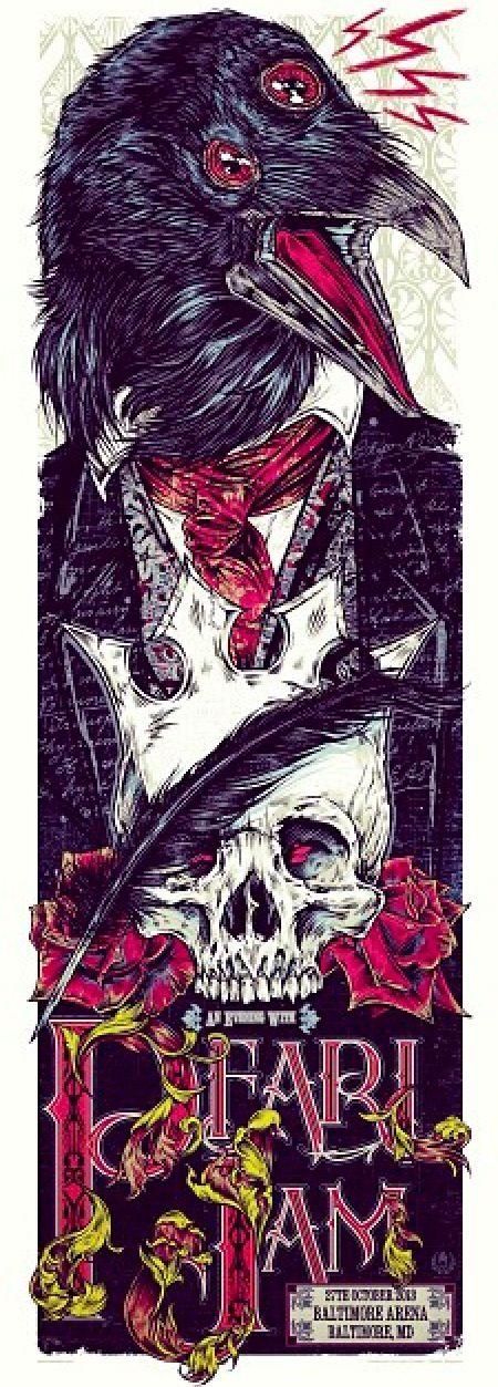Pearl Jam - Baltimora - 27/10/2013 - Art by Rhys Cooper - Lightning Bolt Tour 2013