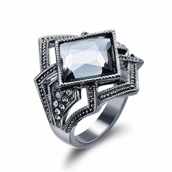 Rhinestone And Crystal Geometric Ring - Mystical Magik