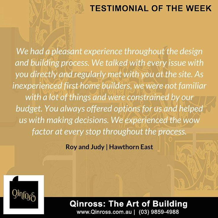Hello everyone!  We want to share another client feedback with you all! Check out this testimonial from Roy and Judy of Hawthorn East.