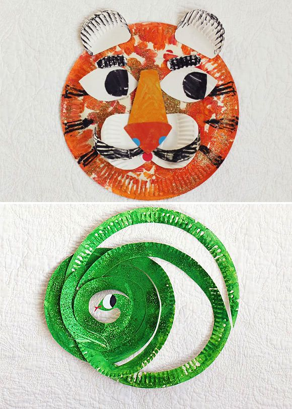 DIY Tiger & Snake Paper Plate Crafts For Toddlers