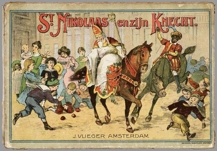 Mooie vintage plaat van Sinterklaas en zijn Knecht - Schenkman
