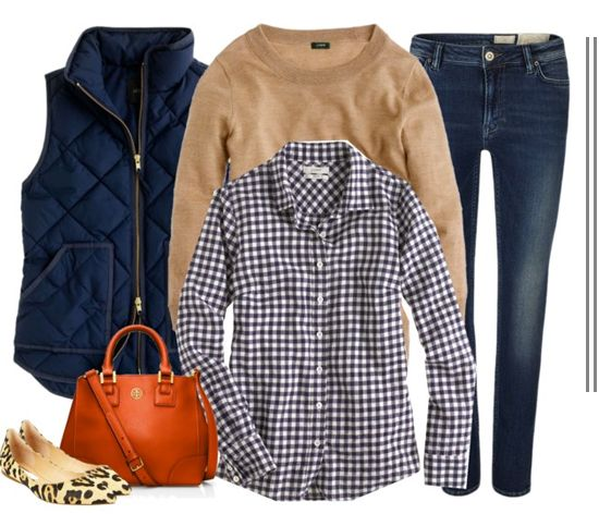 I am in love with this outfit! Gingham shirt, camel sweater, blue vest, tan satchel, leopard flats