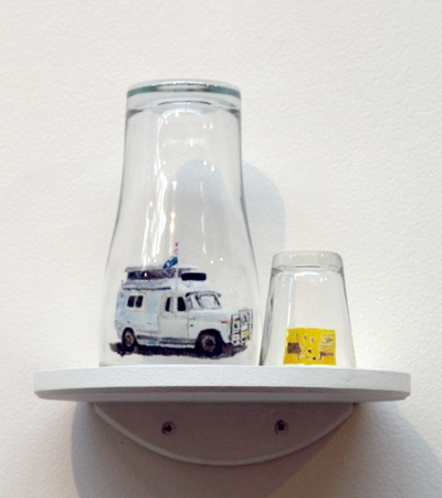 Waratah Lahy,    'Van and Sign' 2007,    oil on glass - 2 pieces