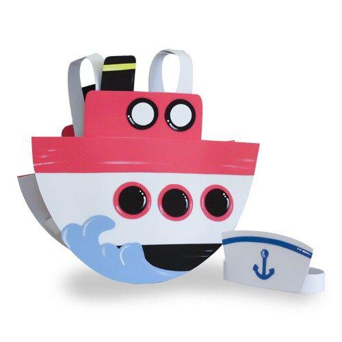 Disfraz de barco fabricado con goma eva. Incluye banda para la cabeza de gorro de marinero/a