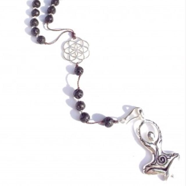 Heart Mala Rosary Beads handmade with loving intention from Lava and Garnet with a beautiful Sterling Silver plated Seed Of Life sacred geometry central charm and blessed with a Sterling Silver Yogini Goddess pendant. <>$54<> ❤️Embrace your inner Yogini with this Goddess charm, capturing the energy of peace and love as she sits in the lotus position, arms reaching high in prayer toward the heavens. ~heartmala.com~
