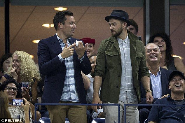 NBC is worried Jimmy Fallon's drinking may be getting out of control after The Tonight Show host injured himself for a third time in four months, sources claim (pictured with his injured finger in a cast at the U.S. Open Championships tennis tournament with Justin Timberlake)