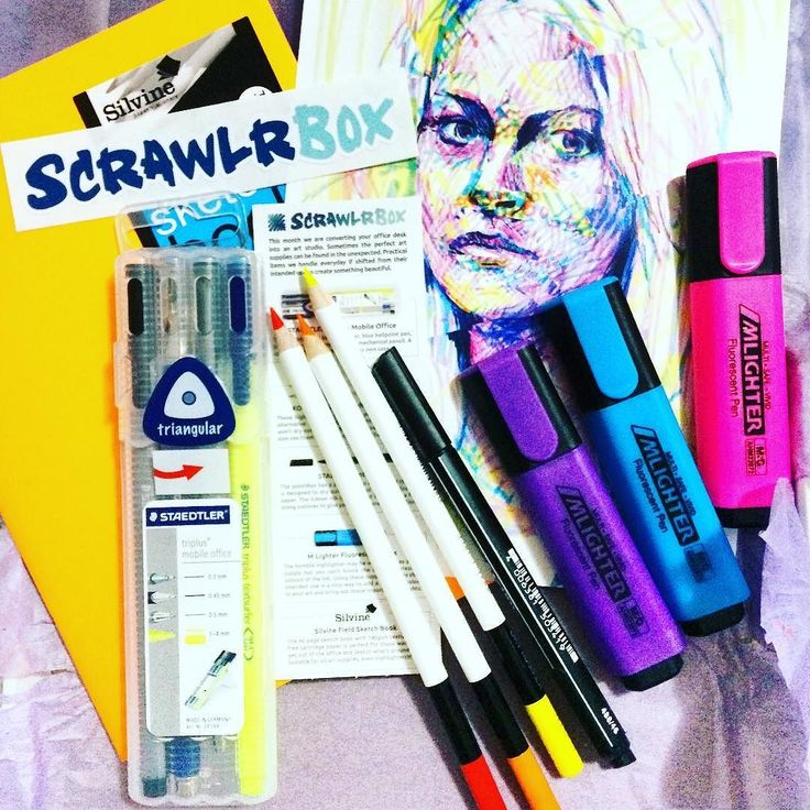 May @scrawlrbox just arrived! Great office supplies this month @staedtlermars Triplus Mobile Office kit 3 @kohinoor_hardtmuth highlighter pens 1 @stabilo poinMax liner 3 MLighter markers 1 Silvine sketch book inspirational artwork and candy treat! Love it! #colors #art #art #artistic #artist #box #subscriptionbox #scrawlrbox #lovemywork #artsupplies #art #art #thehappynow #thatsdarling #pursuehappy #pursuepretty