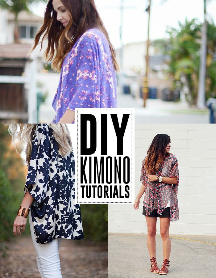 6 DIY kimono tutorials - andreasnotebook.com So easy to make! With one no-need-to-sew DIY