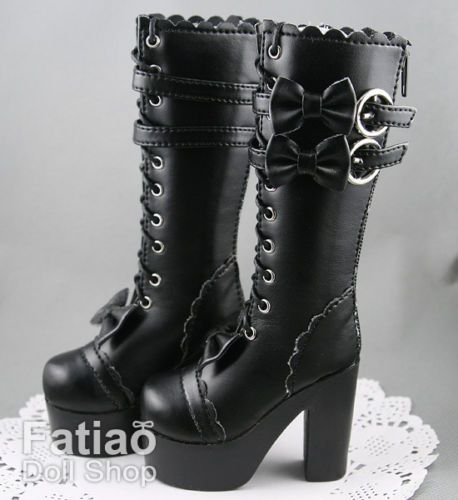 1-3-BJD-Supper-dollfie-SD-Bow-Dolls-Boots-Shoes-Black for Carina