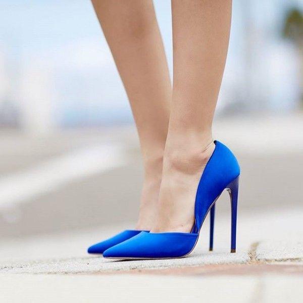 2017トレンドカラー、アビスブルー・ロイヤルブルー ポインテッドパンプス スティレットヒール ドレスシューズ 深海みたいのカラー 素敵な色~~#FSJシューズ##FSJshoes#美脚、美しい~
