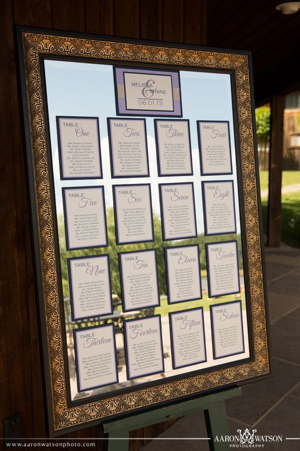 elegant seating chart idea layered table assignments attached to a mirror http