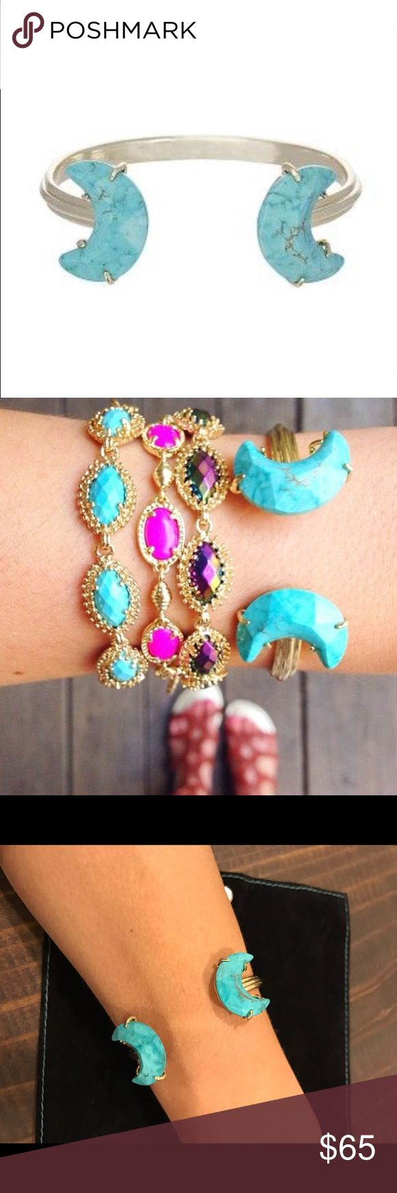 Kendra Scott Carson turquoise cuff bracelet Sold out everywhere! Carson cuff in gold and turquoise. Crescent moon design. No dust bag and no trades. Jewelry Bracelets