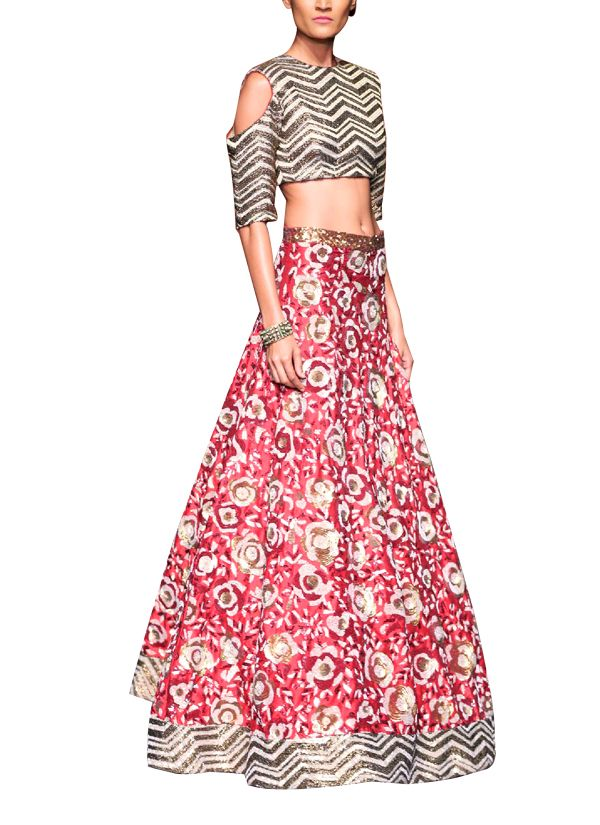 Indian Fashion Designers - Siddhartha Tytler - Contemporary Indian Designer Clothes - Lehengas - ST-AW15-STC16-LHNG-007 - Ornate Maroon Lehenga